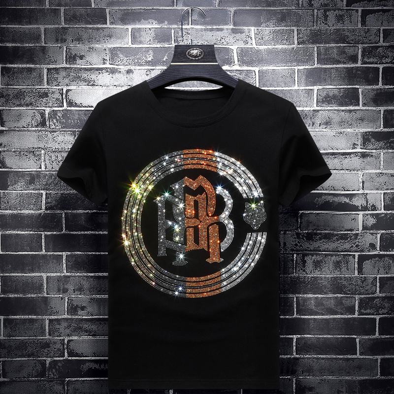 Europe station 2020 summer tide brand trend slim fit mens hot drill short sleeve t-shirt mens half sleeve large clothes