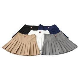 春夏学院基本款高腰西装面料裙裤A字百褶短裙修身显瘦百搭半身裙