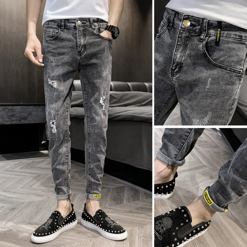 Jeans men's Korean version of the trend Slim small feet nine pants broke 2021 summer thin section tide cards casual pants