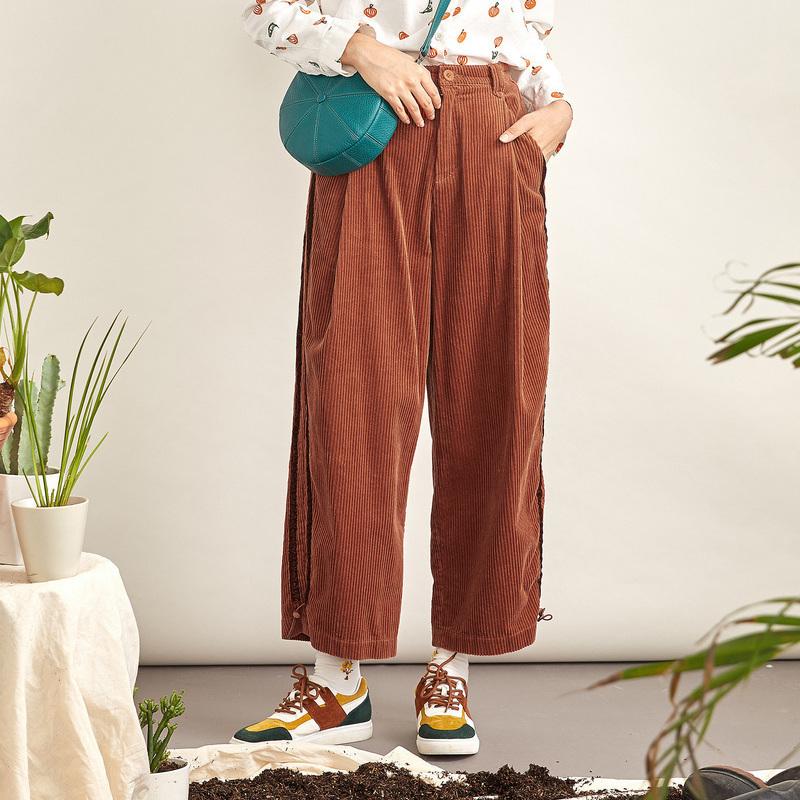 【商场同款】飞鸟和新酒冬装新款灯芯绒直筒休闲长裤FQ1970150601