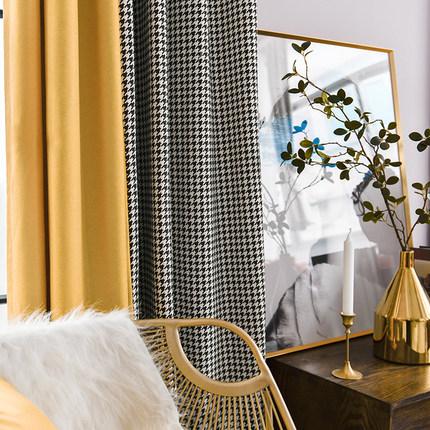 简约遮光北欧风客厅卧室拼接窗帘