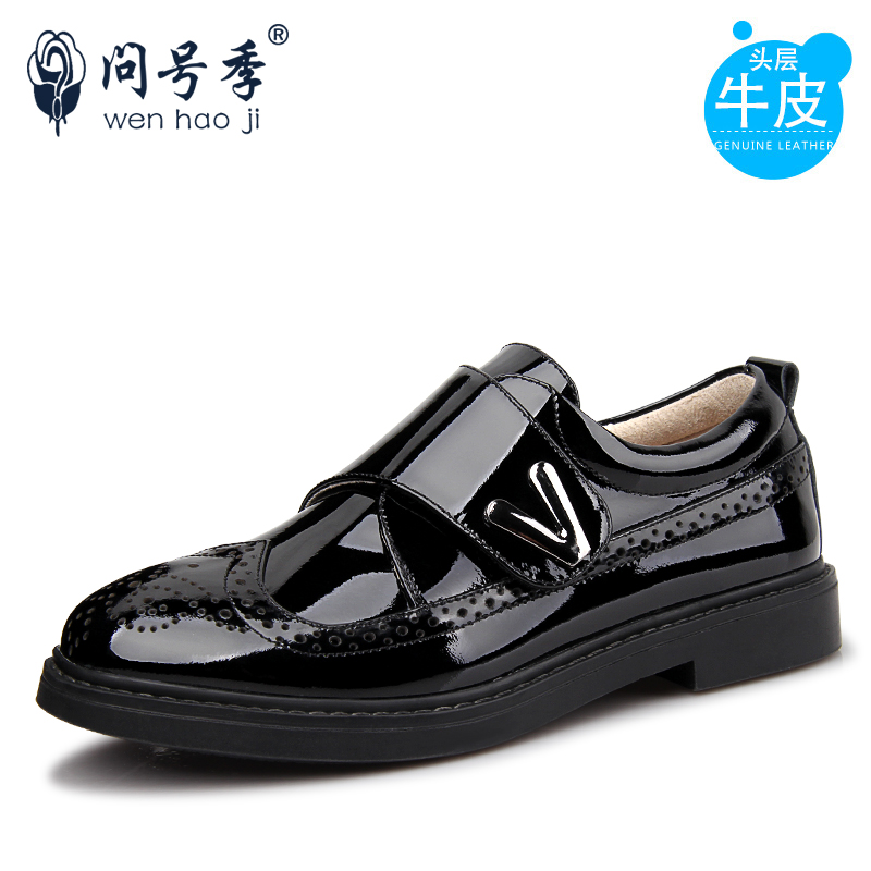 问号季2017新款儿童皮鞋男童单鞋黑色真皮学生鞋男大童鞋表演出鞋