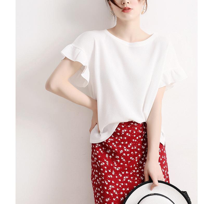 优雅灵巧 舒适度高进口客供华夫格立纹面料两色荷叶边棉质罩衫TEE