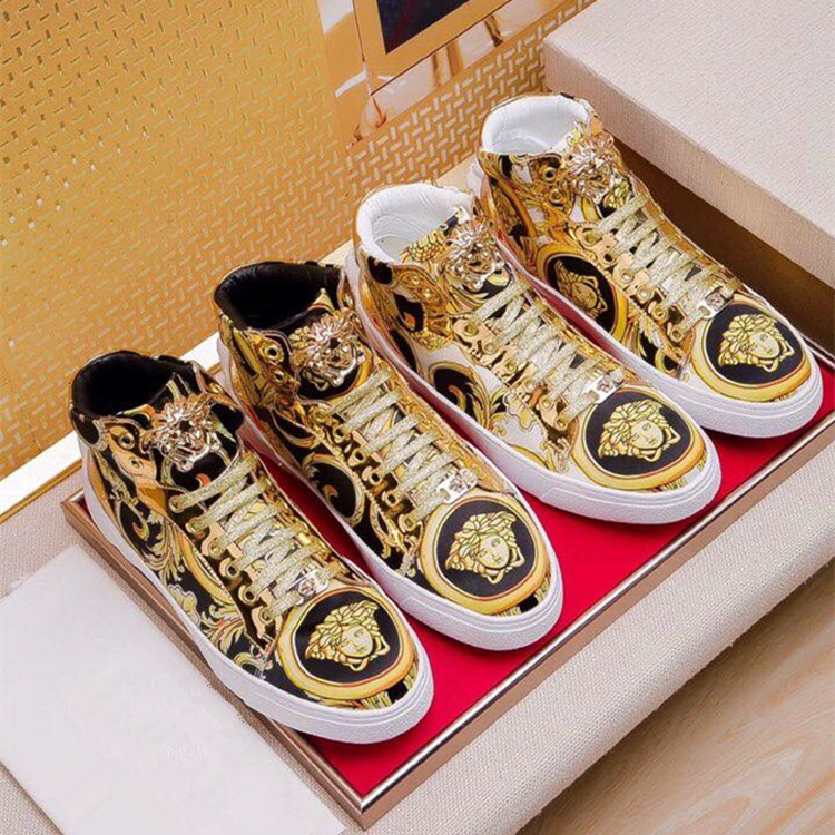 Fashionable cool and fashionable mens high top board shoes popular classic printed casual shoes fashionable metal buckle lace up shoes