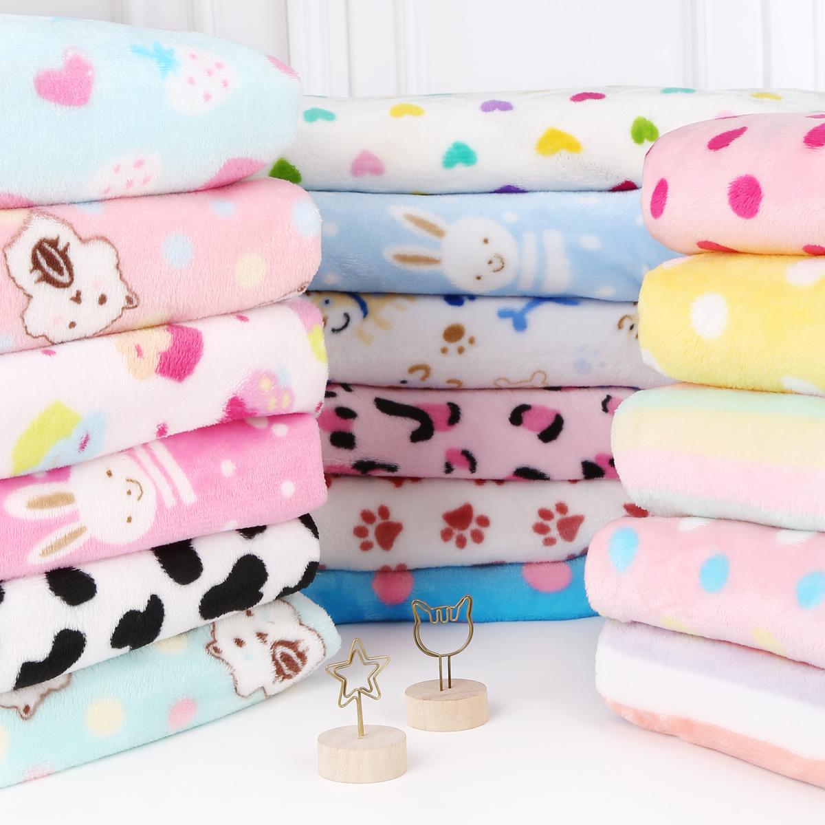 不包邮双面法兰绒法莱绒面料珊瑚绒毛毯睡衣服装料毛绒床单手工diy布料