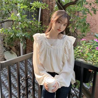 秋季2020新款超仙森系设计感荷叶边方领宽松灯笼长袖衬衫上衣女装