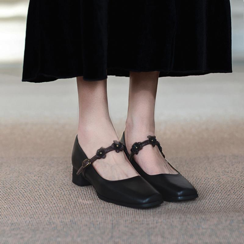 粗跟单鞋女春夏百搭方头法式复古赫本玛丽珍一字扣真皮中跟小皮鞋