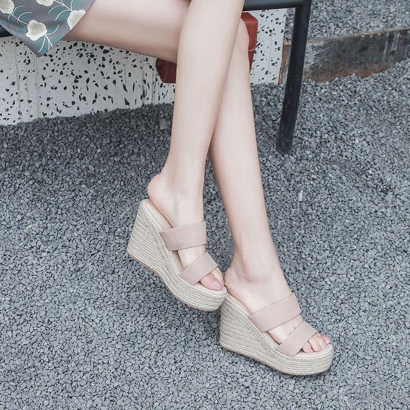 坡跟拖鞋女外穿厚底时尚百搭增高真皮高跟防水台夏季松糕底凉拖鞋