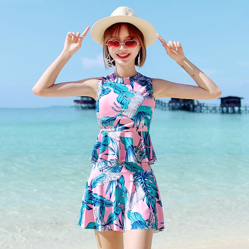 满99元可用10元优惠券女韩国ins风分体平角性感显瘦泳衣