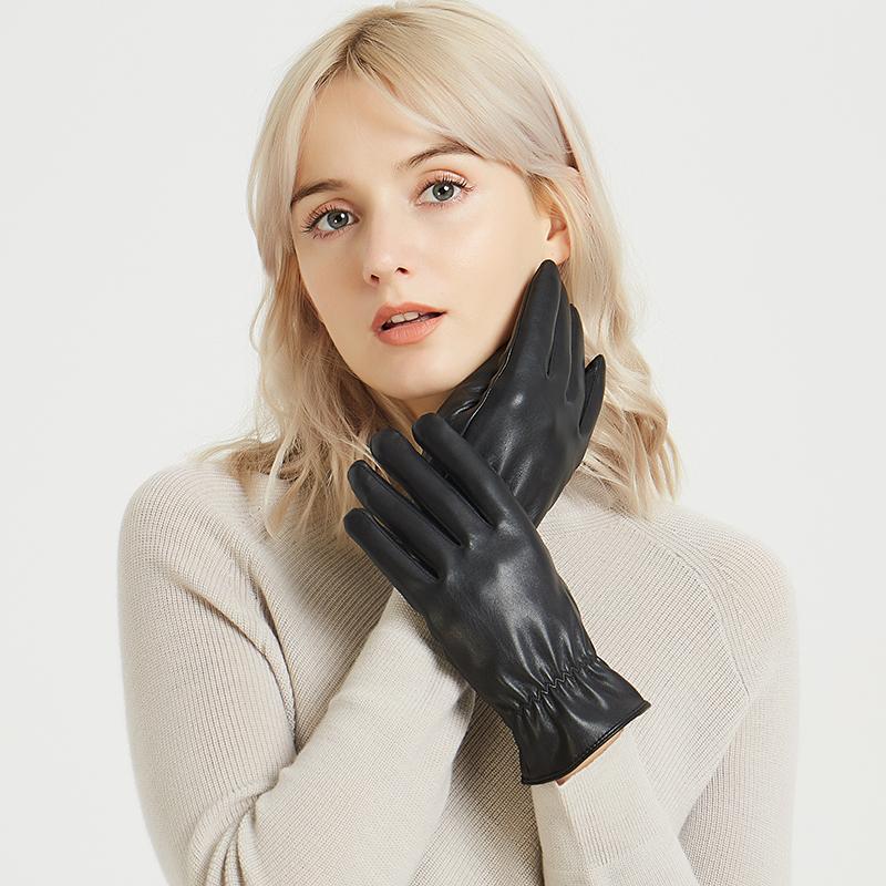 女士男士水洗皮触屏手套秋冬季保暖开车骑车冬天加绒防水棉手套
