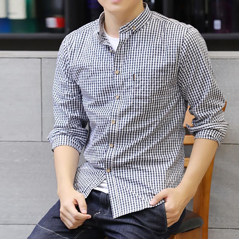 新款格子衬衫男长袖韩版修身青少年纯棉衬衣时尚潮流休闲帅气寸衫