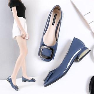 2020夏季新款时尚方头女士浅口四季单鞋韩版百搭粗跟秋季女鞋子潮