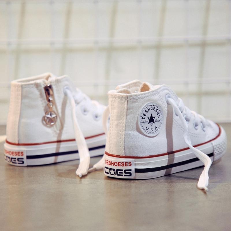 儿童帆布鞋高帮2018秋季新款女童小白鞋男童板鞋布鞋子韩版百搭潮