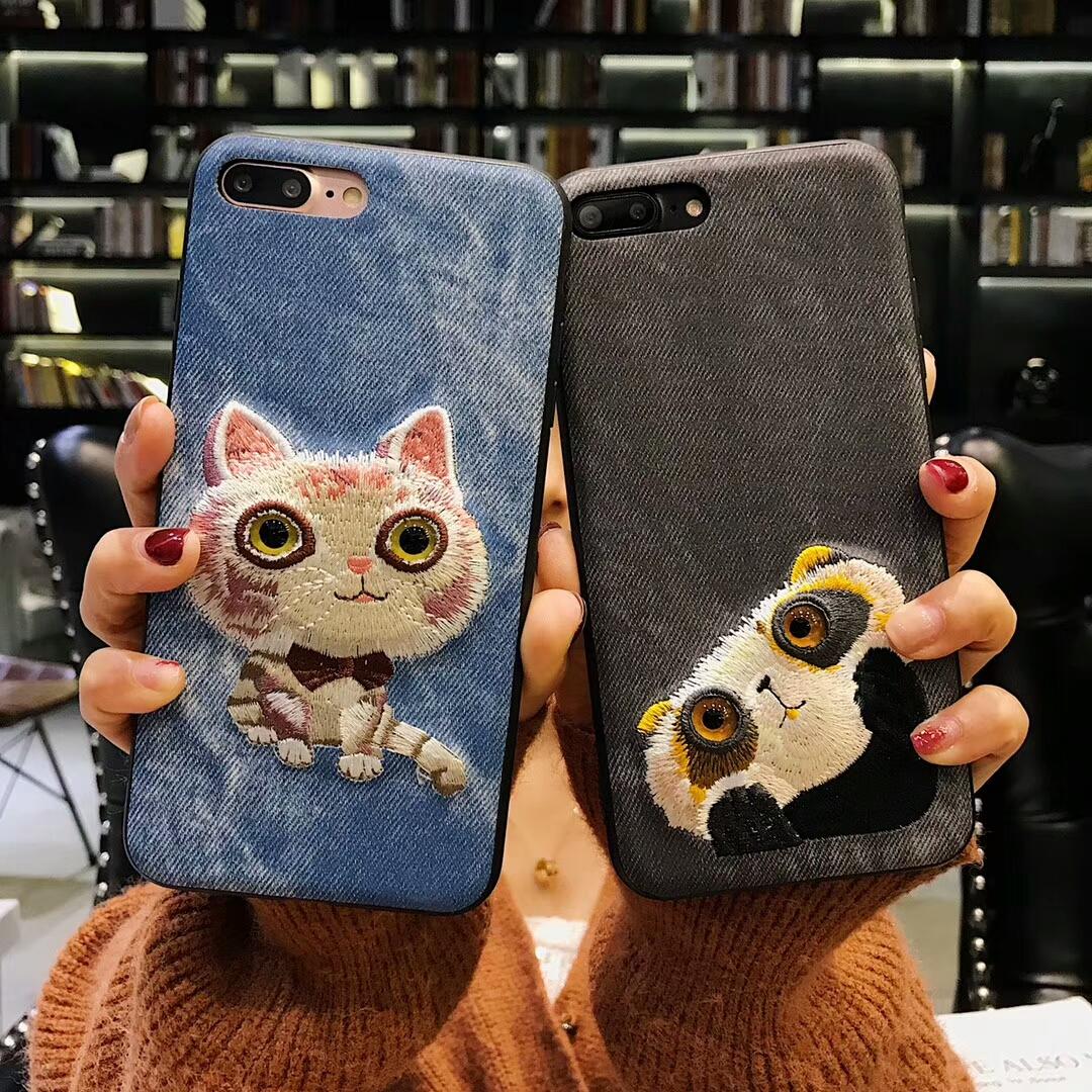 卡通可爱刺绣猫咪vivox9手机壳x9s/x20plus立体熊硅胶套x20潮女款
