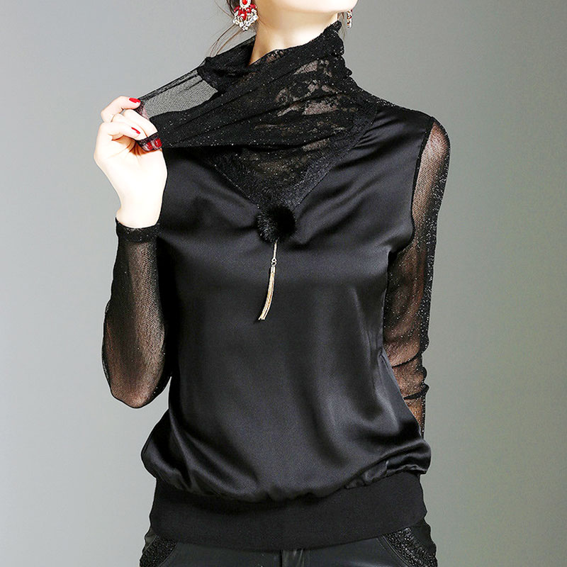 Autumn and winter high collar Plush bottom coat womens foreign style lace mesh blouse