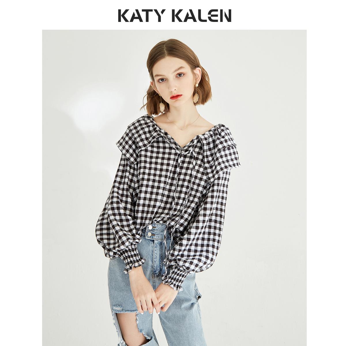 kk春装女2020新款韩版宽松娃娃领衬衣系带格子很仙的上衣洋气衬衫