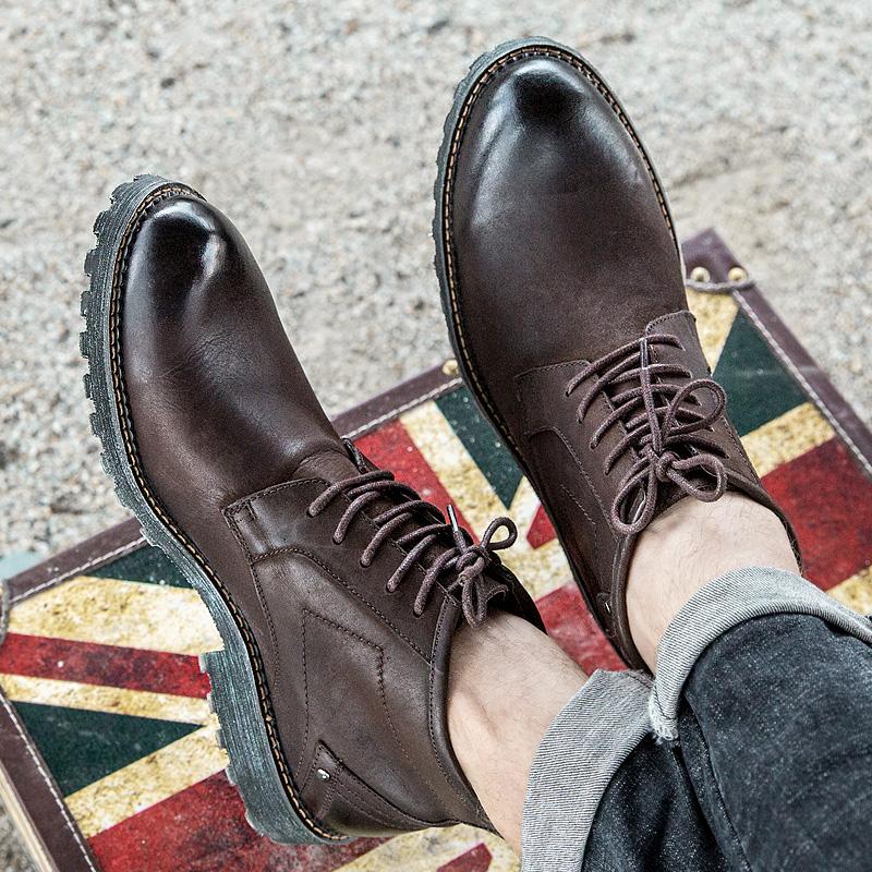 秋冬磨砂真皮男靴潮高帮皮靴加绒保暖英伦马丁靴男短靴复古沙漠靴