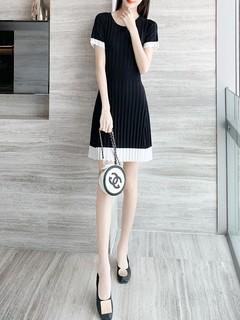 黑色连衣裙2020新款夏季女装冰丝小个子收腰显瘦气质赫本a字裙薄