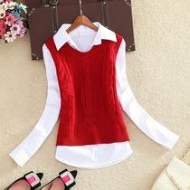 春装新款韩版衬衫女休闲百搭白衬衣马甲背心两件套装学生气质上衣