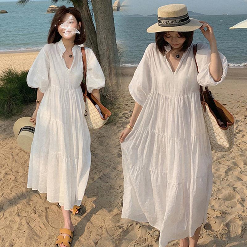 Maternity dress summer large 200kg loose trendy mother short sleeve maternity dress summer dress white cotton skirt summer