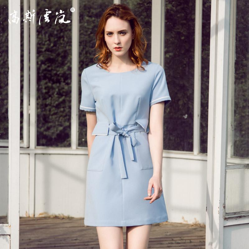 高斯雪岚女装  2018新款夏上衣春装 收腰连衣裙中长款裙子