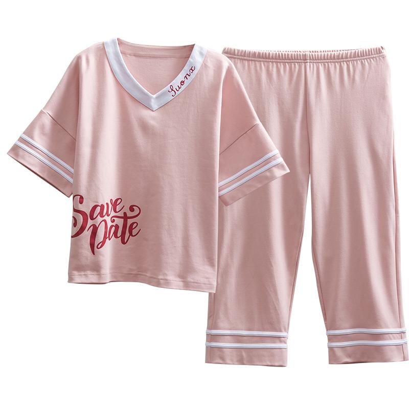 睡衣女生夏季纯棉短袖套装七分裤两件套