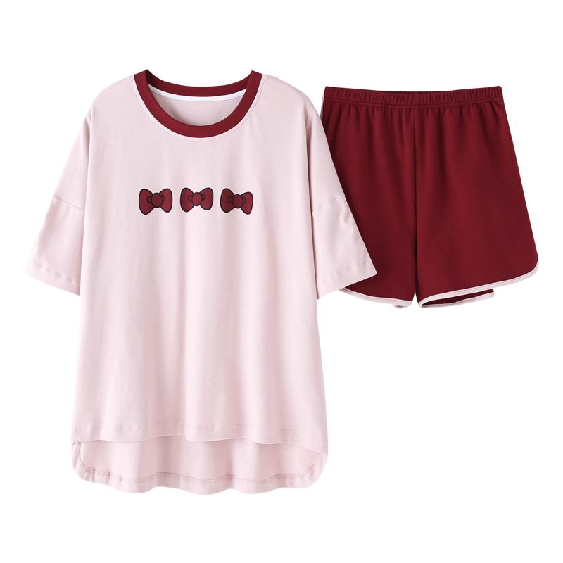睡衣女夏韩版纯棉短袖短裤裤两件套装