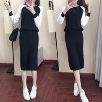 145-150娇小个子XS加小码秋冬季女装显瘦修身甜美两件套装连衣裙