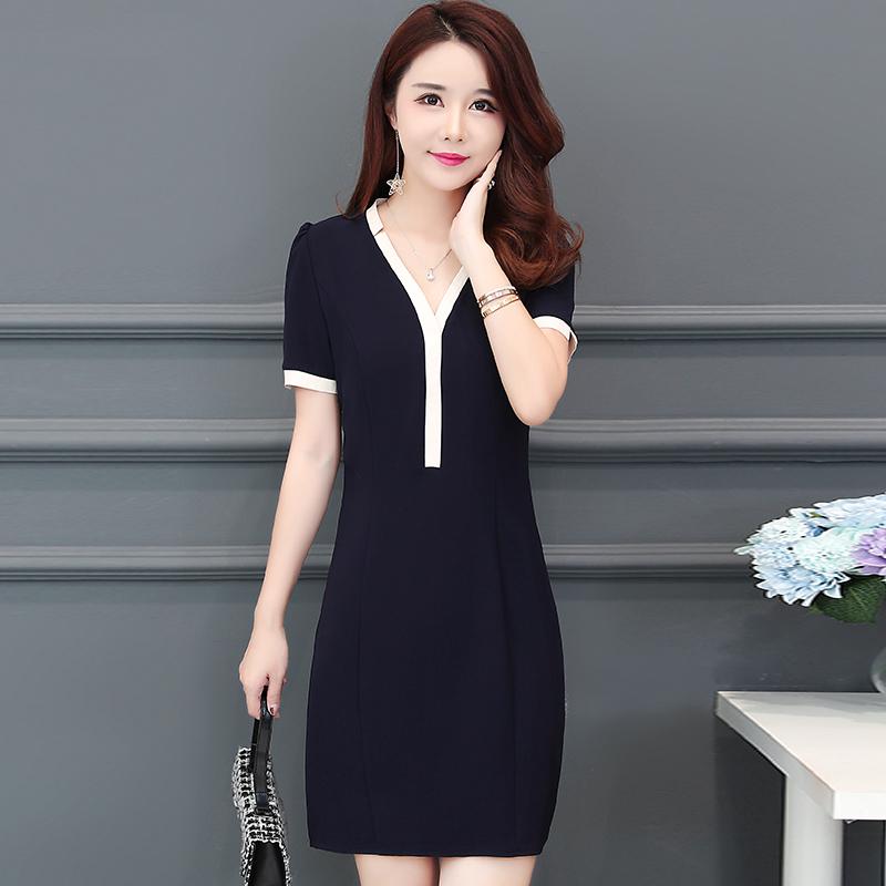 雪纺拼色连衣裙夏2018韩版短袖女装假两件套裙子OL职业大码A字裙