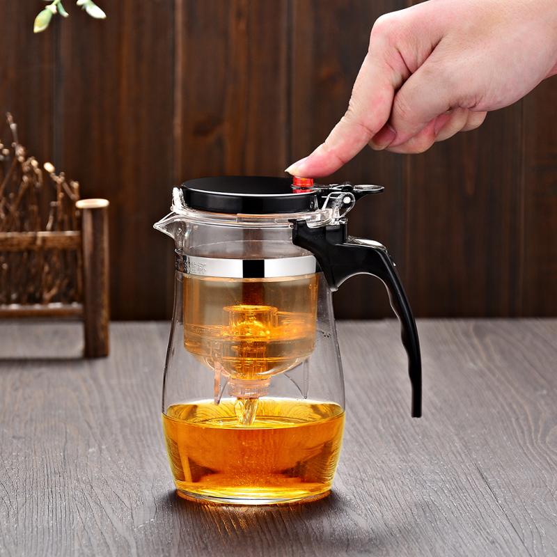 Трясти провинция гуандун карты элегантная чашка ключ автоматическая фильтрация вкладыш пузырь ароматный чай горшок сопротивление горячей стекло порыв чай устройство съемный чайный сервиз