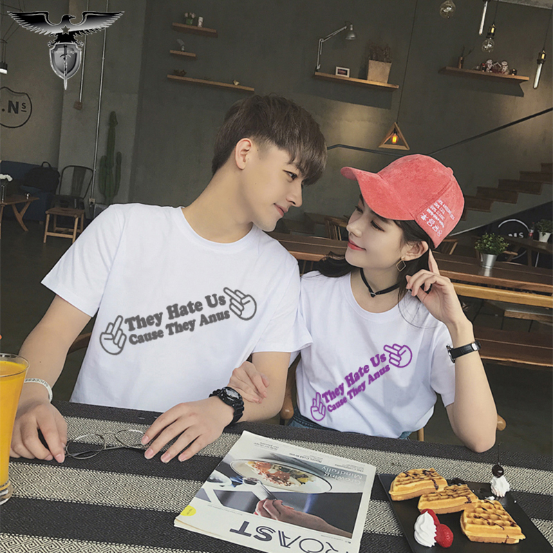 Men and women lovers parent-child cotton short sleeve T-shirt vertical Chinese refers to English