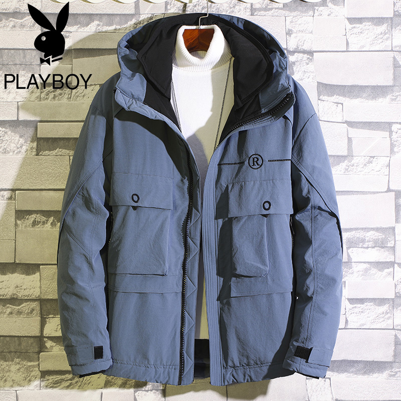 Playboy flagship down jacket men's short 2020 winter new thick men's tooling jacket winter tide brand