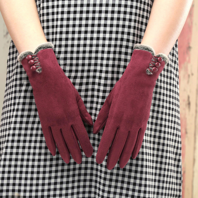 Glove girl lovely winter autumn winter Plush fashion Korean version warm driving cycling finger touch screen suede gloves