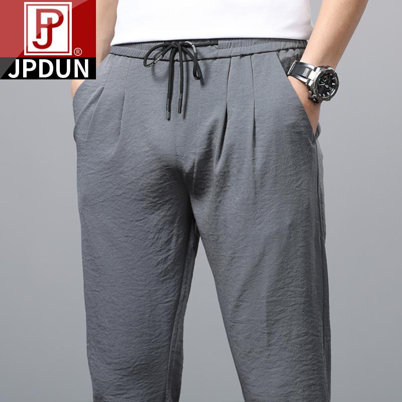 A吉普盾夏季薄款冰丝休闲裤男士修身小脚运动长裤子夏天超薄速干