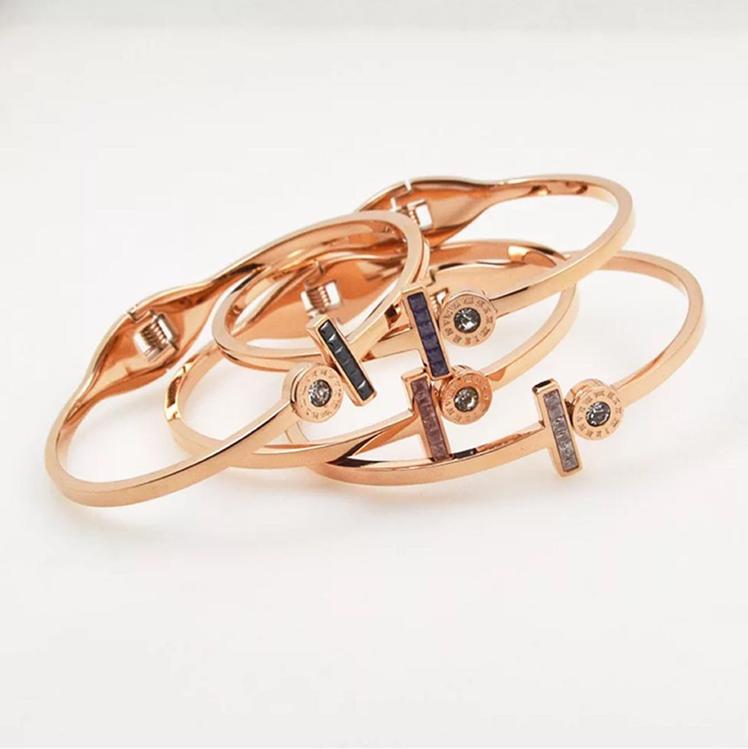 玫瑰金钛钢水晶钻手镯罗马数字彩金镀金手环女首饰品不褪色18K