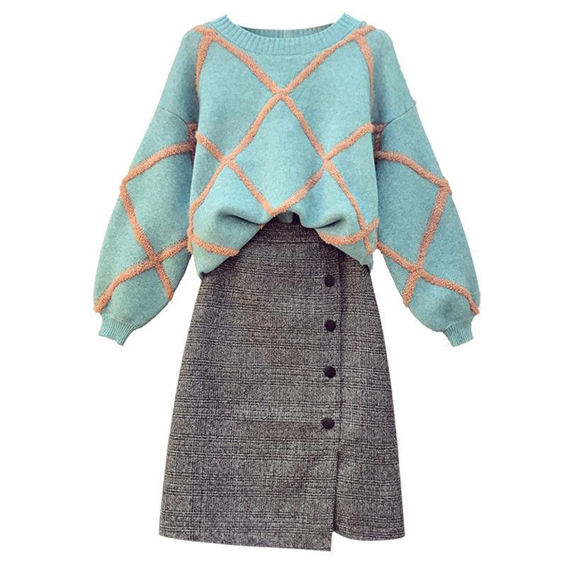单/套装 大码女装秋冬宽松毛衣针织衫显瘦连衣裙胖妹妹两件套裙子