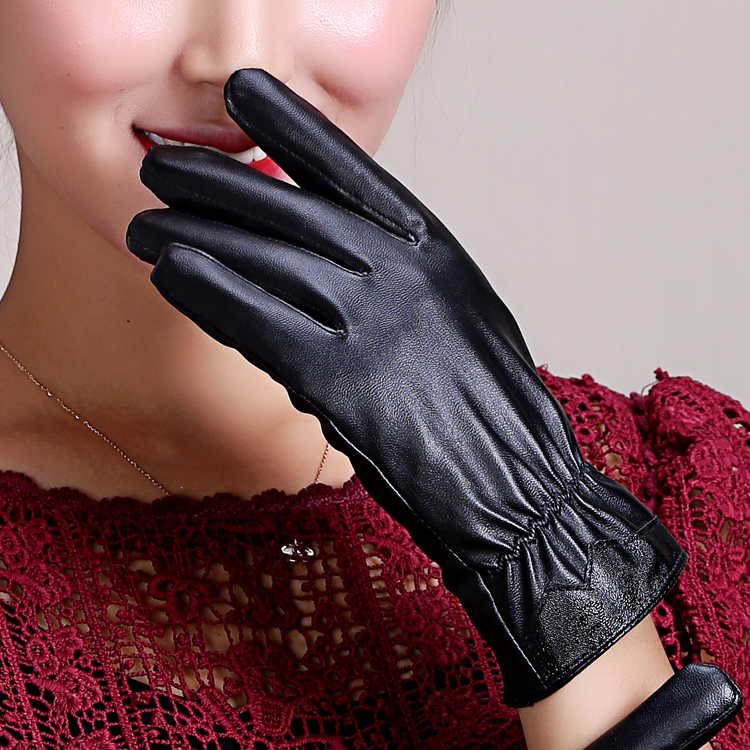 Couples mens and womens leather gloves with plush and thick in autumn and winter