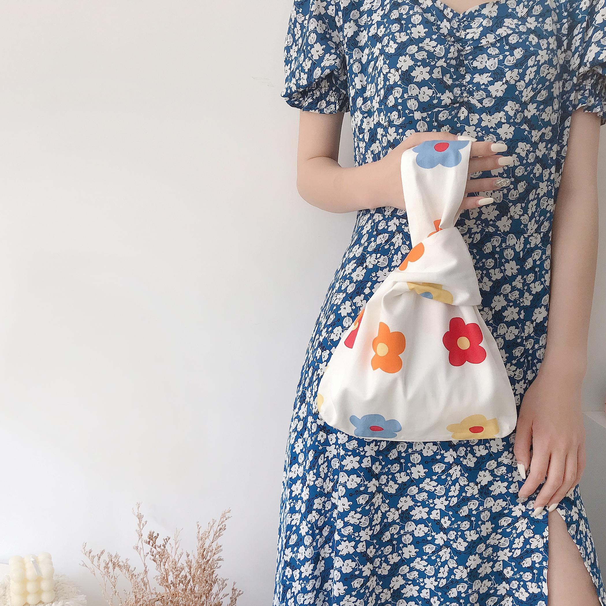 唐糖包袋/ins日式和风手腕包套结手拎包手提帆布包钥匙手机零钱包