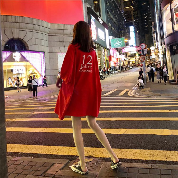 韩版慵懒风百搭宽松中长款前后字母数字图案蝙蝠袖T恤连衣裙T裙夏
