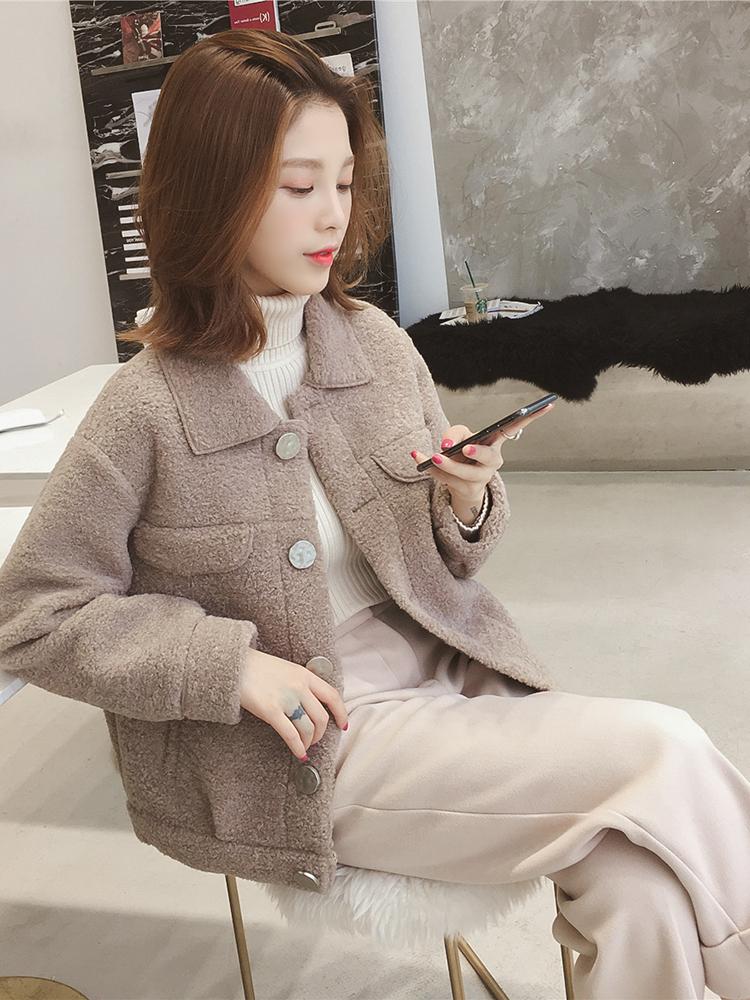羊羔毛外套女2021春秋韩版新款宽松加厚防羊绒小个子短款chic上衣