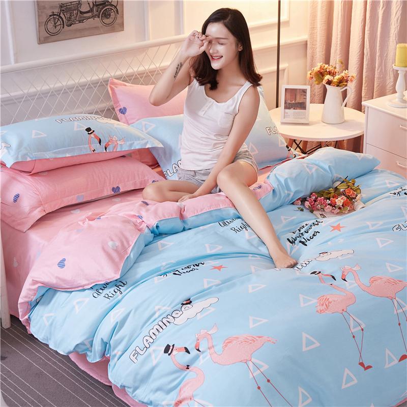 秋冬床上全棉四件套2米x2.3纯棉被套2.2x2.4m加大双人被罩220x240