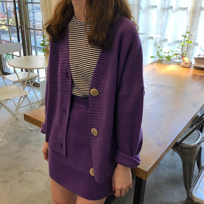 毛衣套装裙女秋季韩版学生时尚洋气开衫外套高腰针织半身裙两件套