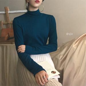 长袖t恤女ins秋冬洋气内搭修身弹力上衣韩版半高领百搭纯色打底衫