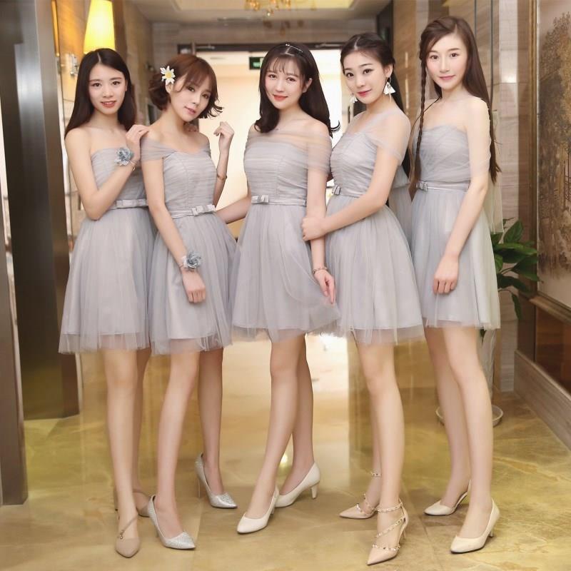 伴娘服2017新款秋季一字肩韩版闺蜜装姐妹裙短款婚礼伴娘团晚礼服