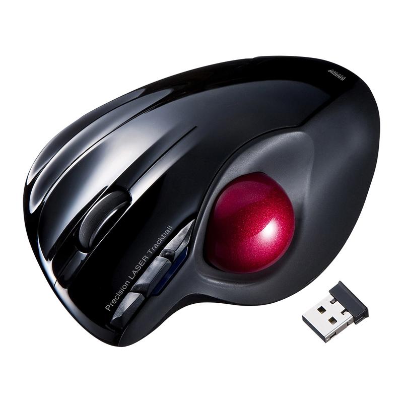 日本SANWA轨迹球鼠标 自动切换DPI专业绘图电脑办公有线/无线鼠标CAD画图大轨迹球2D/3D设计绘图设计师专用