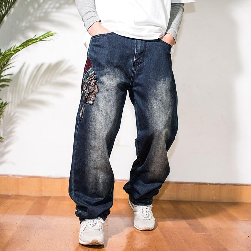 潮男胖子嘻哈滑板裤加肥加大码nzk长裤 刺绣Indian阔腿老爹牛仔裤