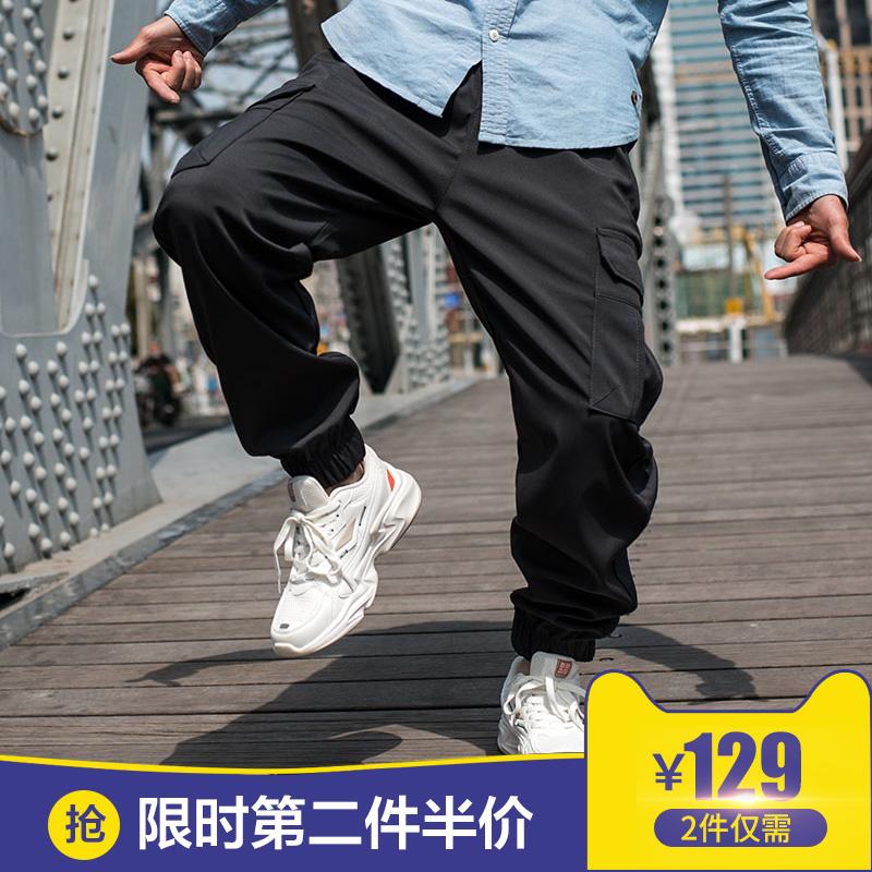 春秋宽松工装裤男 束脚运动休闲裤 潮男胖子加肥加大码多口袋长裤