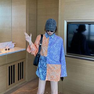 价韩版花纹拼接撞色防晒衬衫休闲宽松上衣,女装衬衫,AJJ