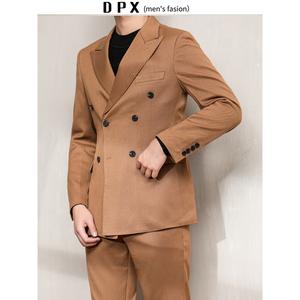 地平线男装秋冬西服套装焦糖色复古纯色两件套西装外套潮商务便西