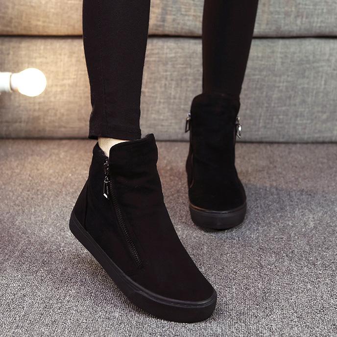 名将冬季加绒马丁靴女韩版懒人拉链加厚棉鞋全黑短靴休闲保暖女鞋